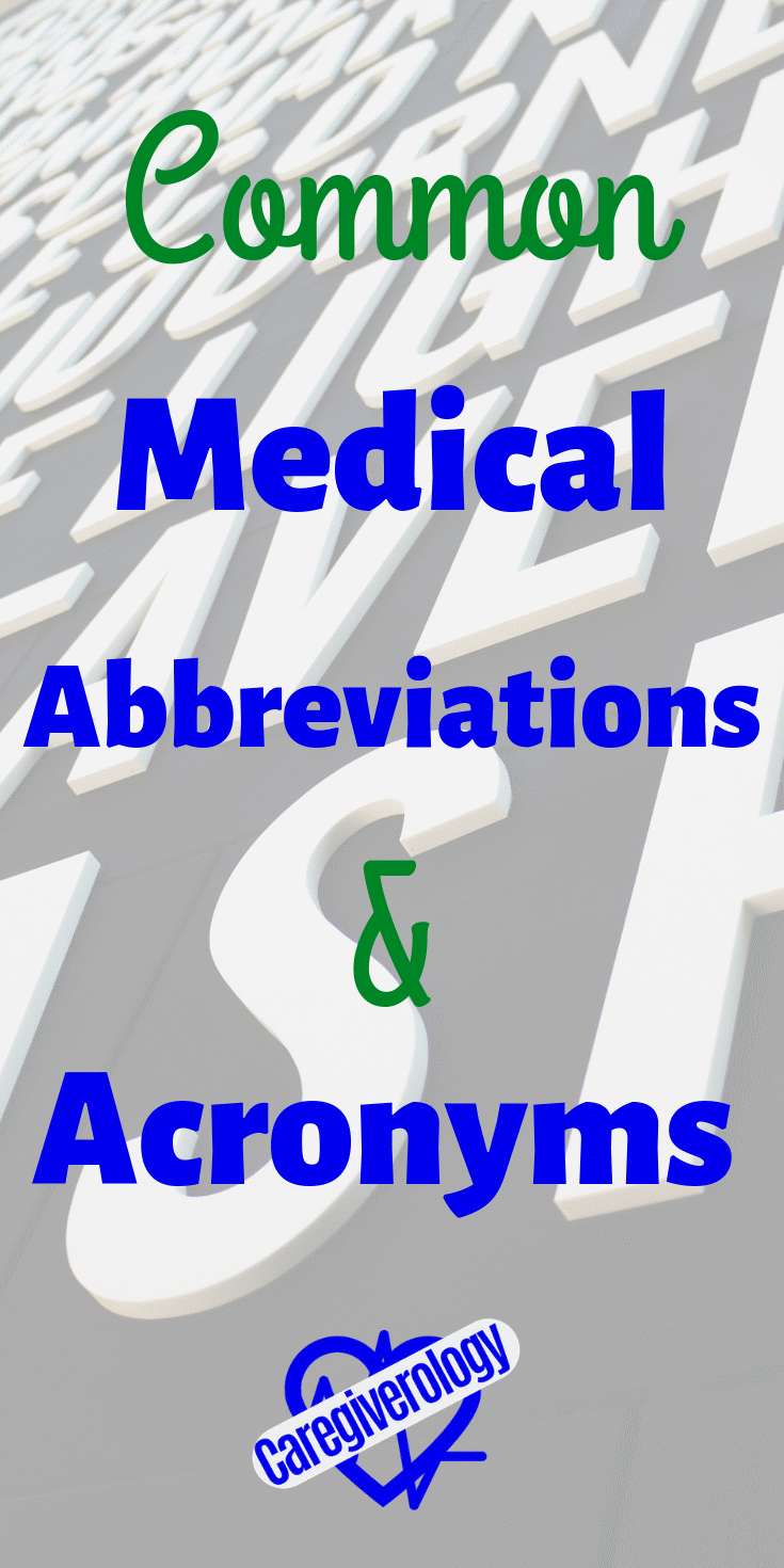 Common medical abbreviations and acronyms