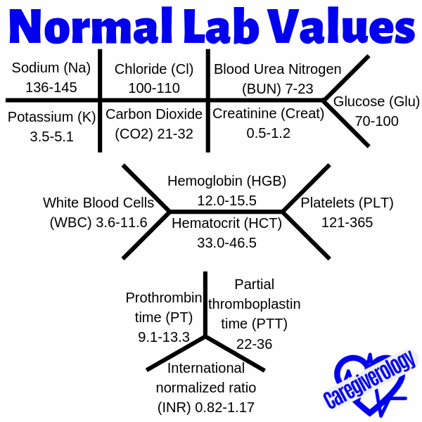 Normal lab values chart