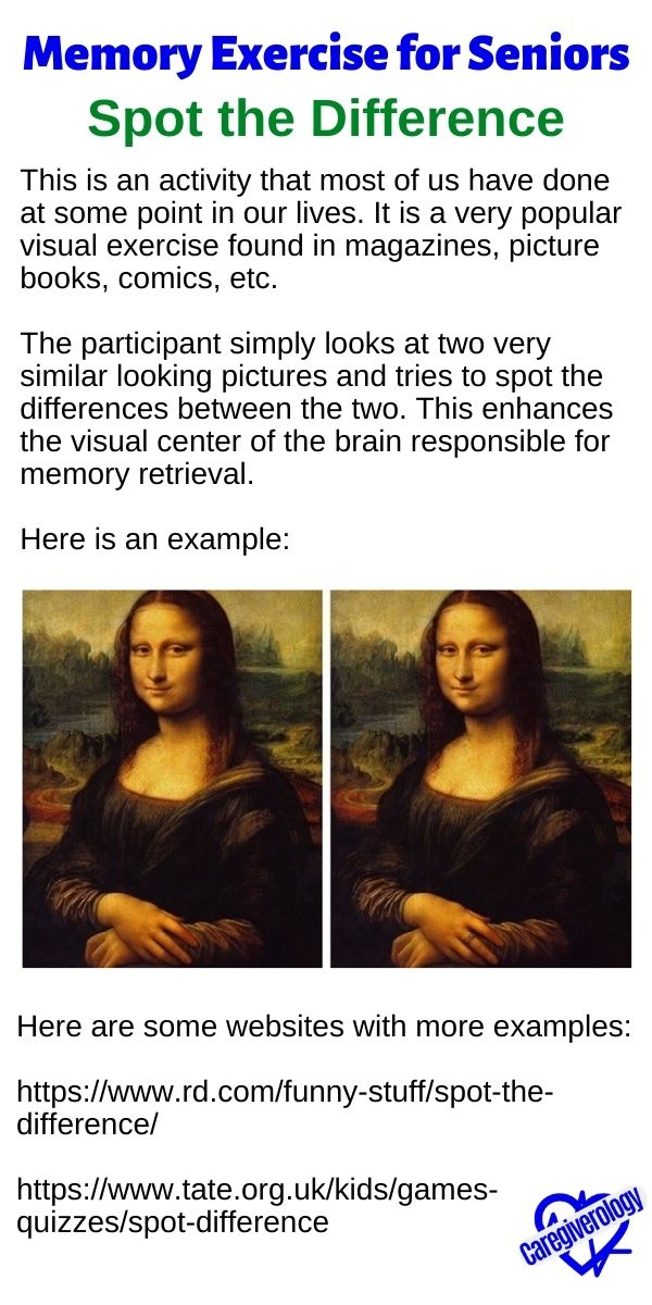Spot the Difference Memory Exercise